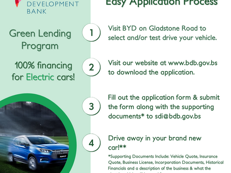 Green Lending: Bahamas Development Bank 100% financing for electric cars