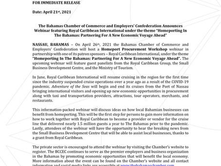 Press Release - BCCEC & Royal Caribbean Group Homeport Procurement Workshop   April 26th 2021   Zoom