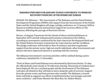 PRESS RELEASE: UNDP announces Hurricane Dorian Private Sector Pledging Conference - January 2020