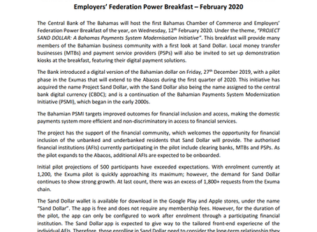 Press Release -  Central Bank Power Breakfast: Project Sand Dollar