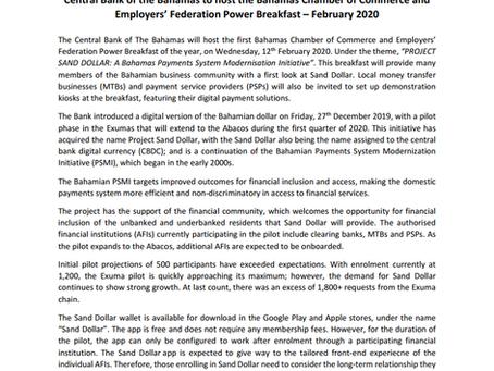 Press Release -  Central Bank Power Breakfast: Project Sand Dollar