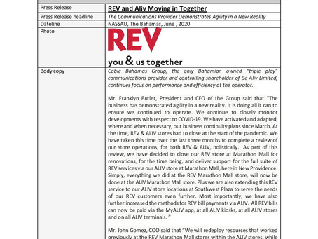Patron Sponsor Press Release: REV and Aliv Moving in Together