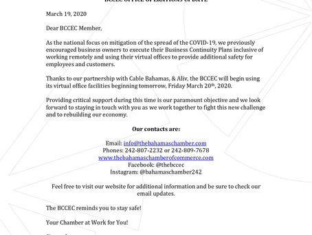BCCEC OFFICE OPERATIONS UPDATE: MARCH 19TH 2020