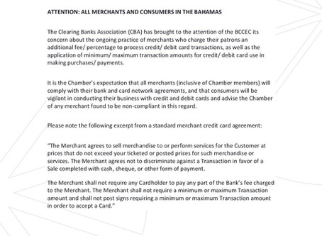 Merchants and Consumers Notice - Credit and Debit Card Payments