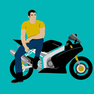 Attractive man looking relaxed by his motorbike