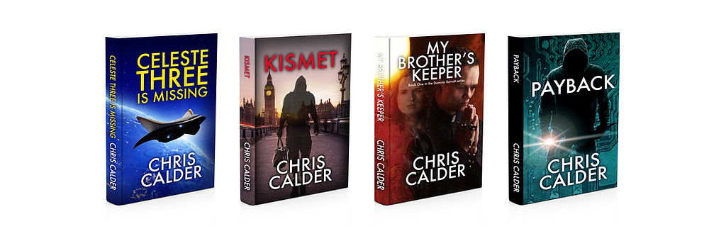 Here are 4 cover designs I've done for the novelist; Chris Calder. I'm looking forward to starting on the cover design for his next book.
