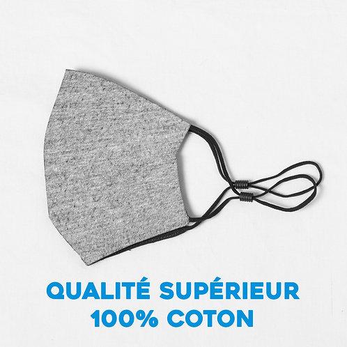 Masque  ajustable qualité supérieur 100% coton - gris