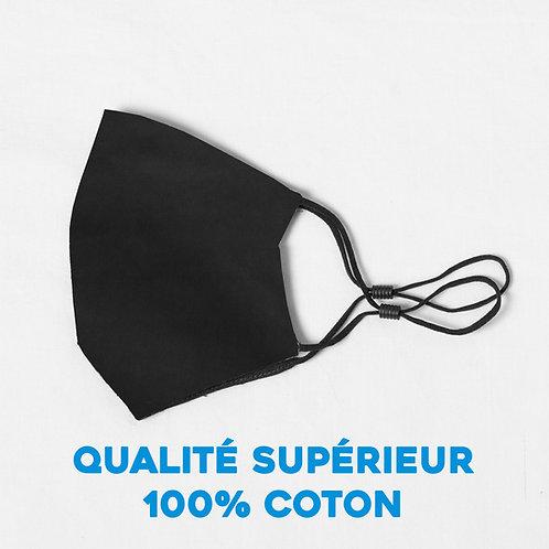 Masque  ajustable qualité supérieur 100% coton - noir