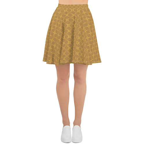 Golden Geometric Skater Skirt