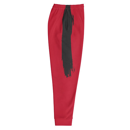Black on Red Paint Stroke Joggers