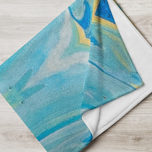 Blue Paint Throw Blanket
