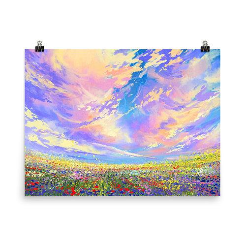 Flower Garden Painting Poster