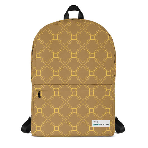 Golden Geometric Pattern Backpack