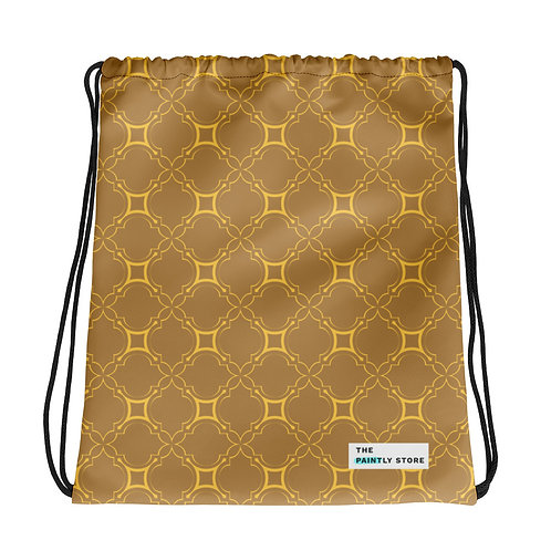 Golden Geometric Pattern Drawstring bag