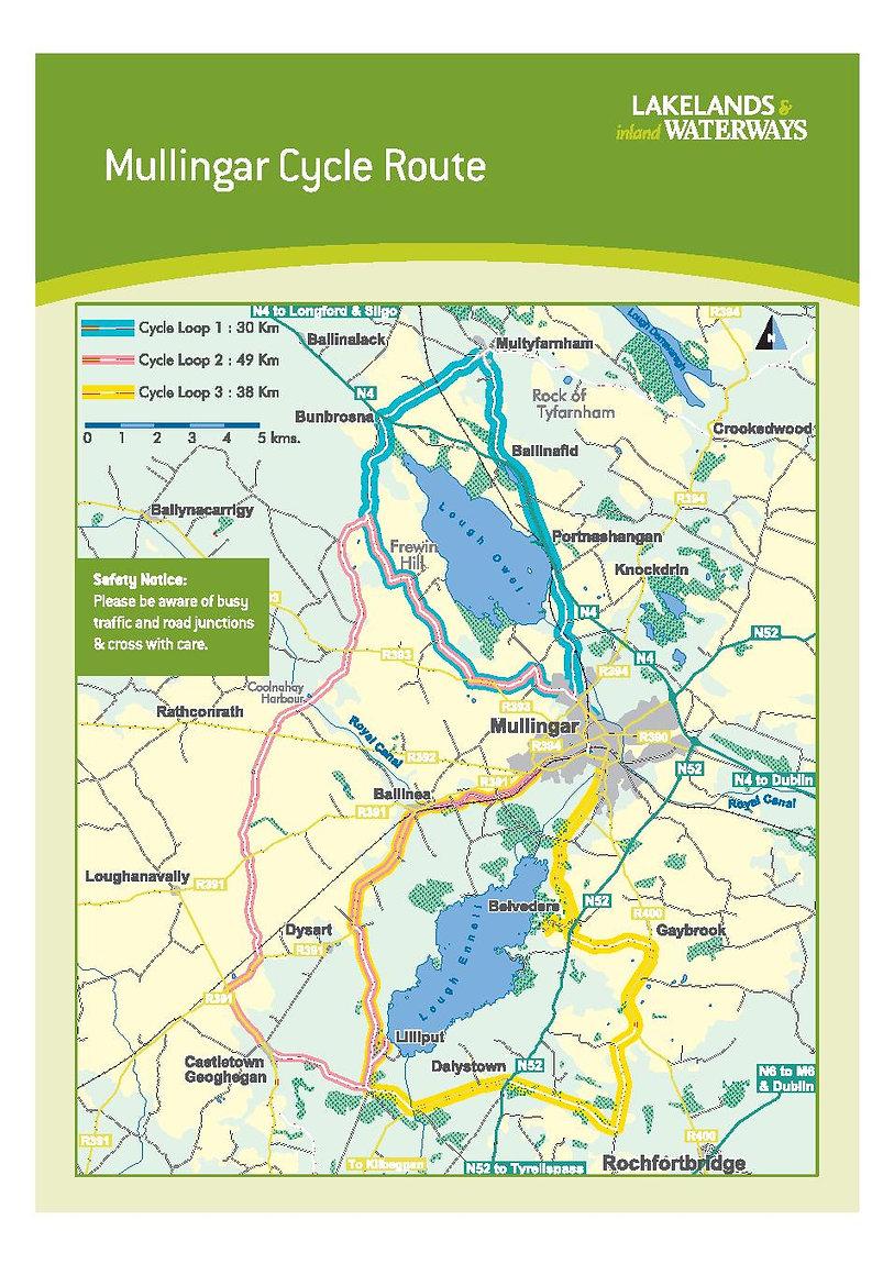 Mullingar, Westmeath County  Waterway Cycling Map Lough Owel Lough Ennell