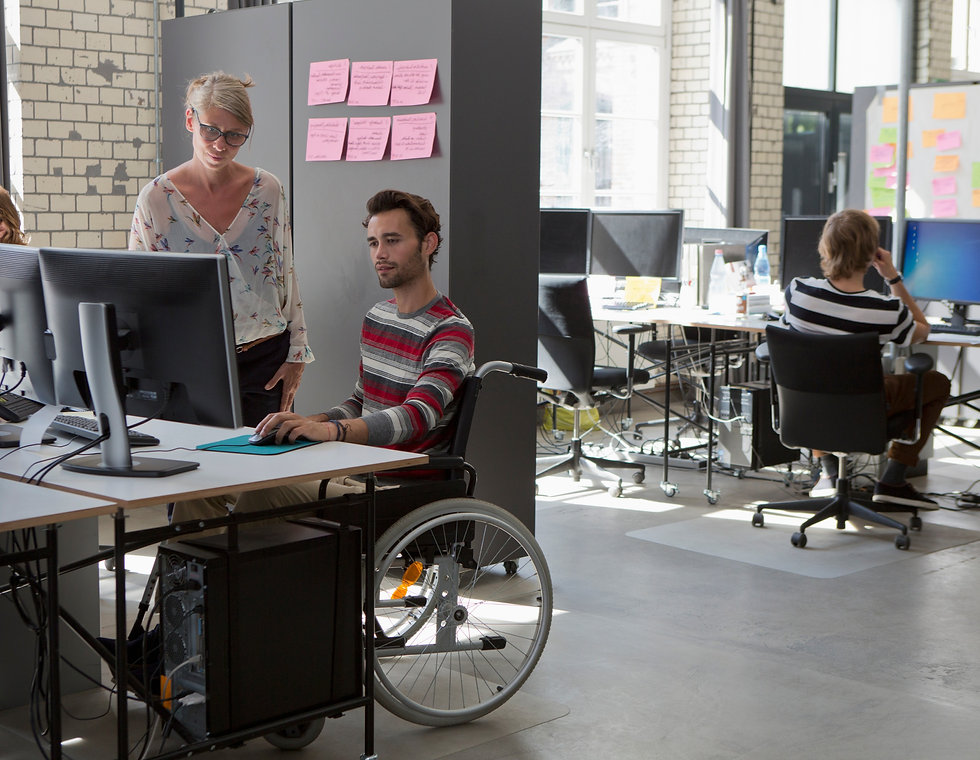 Young man who uses wheelchair, working with a colleague