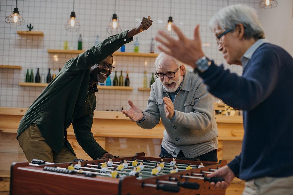 Celebratory senior citizens in a Retirement Village
