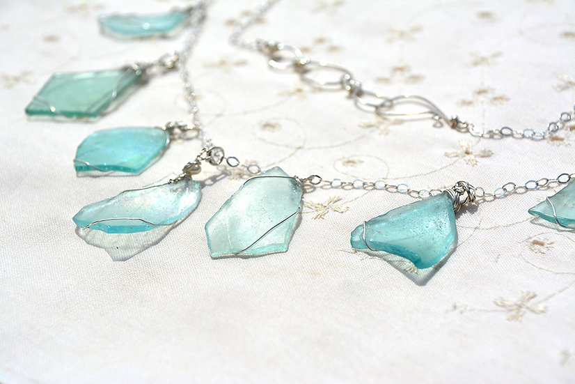Silver Roman Glass Chain Necklace Roman Glass Jewelry Free Shipping fr