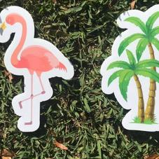 Flamingo & Palm Trees
