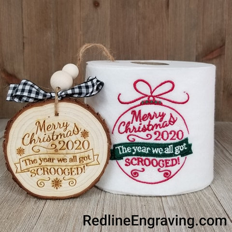 2020 Small Gift Set- Scrooged Ornament and Embroidered TP
