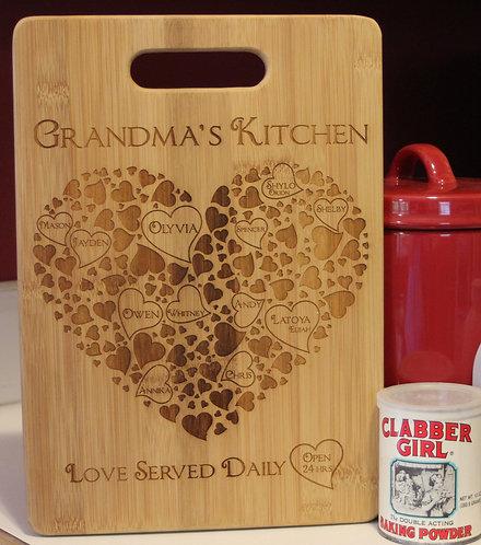 Grandma's Kitchen-Large Bamboo Cutting Board Personalized