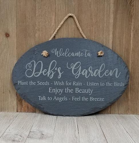 Garden Welcome Slate Sign