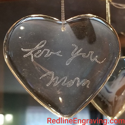 Crystal Heart Ornament-Hand Written Message-Gift Boxed