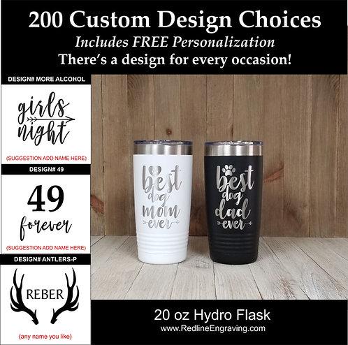 Custom 20 oz Hydro Flask-200 design choices.