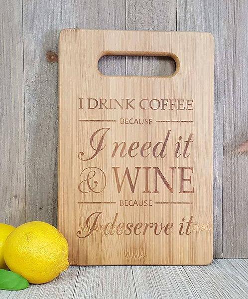 Coffee & Wine Bamboo Cutting Board