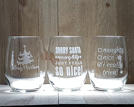 Christmas Party Pack- 21 oz Holiday Wine Glasses- Set of 12