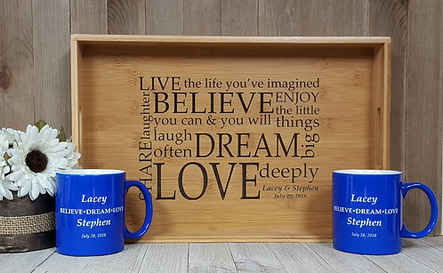 Belived-Dream-Love-Bamboo Serving Tray-Personalized