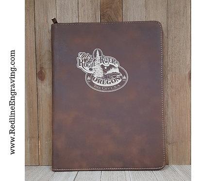 Set of 10 Promotional Rustic Leather Zipper Portfolio-Letter Size