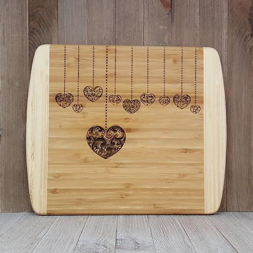 Hanging Hearts - Large 2 Tone Bamboo Cutting Board