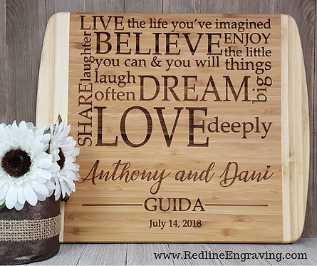 Believe-Dream-Love-Large 2 Tone Bamboo Cutting Board Personalized