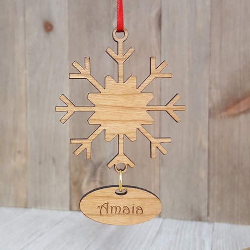Laser Cut Wood Snowflake Christmas Ornament