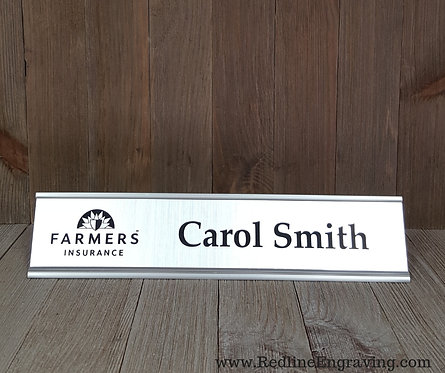 Metal Desk Name Sign with Holder