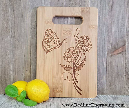 Butterly Flowers - Bamboo Cutting Board