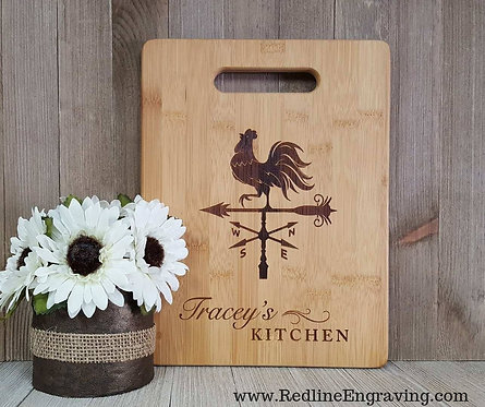 Rooster Personalized Bamboo Cutting Board