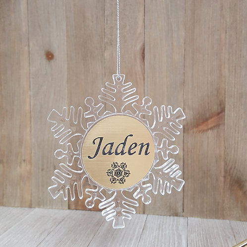 Acrylic & Gold Snowflake Christmas Ornament-SOLD OUT for 2018