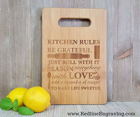 Kitchen Rules Bamboo Cutting Board