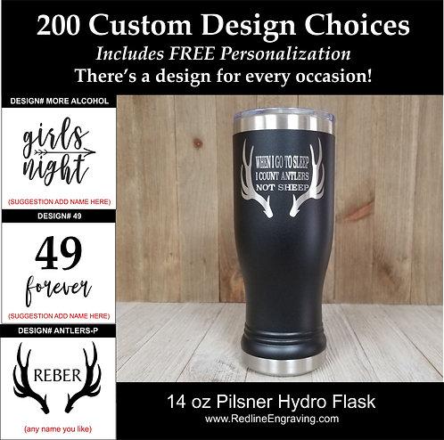 Custom 14 oz Hydro Flask-Pilsner-200 design choices.