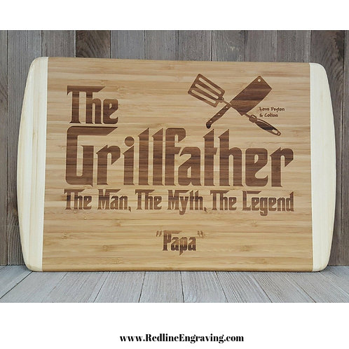 Grillfather-XL Large 2 Tone Bamboo Cutting Board Personalized