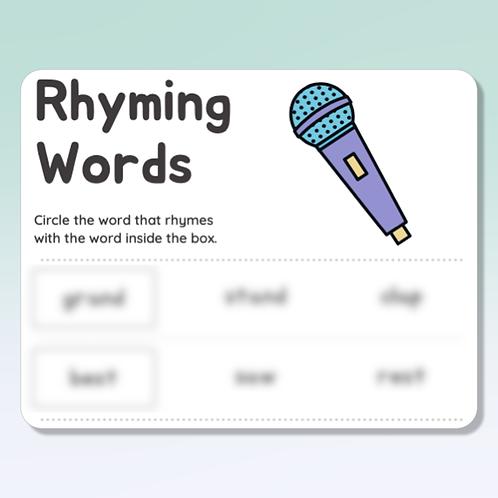 Rhyming Words (3rd Grade)