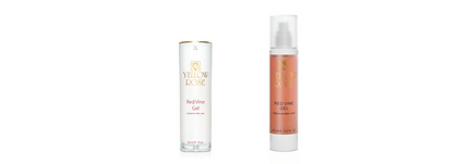 RED VINE GEL  30ml retail, 100ml airless bottles  An ideal anti-wrinkle gel to moisturise, oxygenate and lighten the skin. Its ingredients scatter free radicals, help in thebiosynthesis of neo-collagen, and contribute to the oxygenation and revitalisation of cells. They also moisturise theskin, increase its elasticity and make it more radiant. Suitable for all skin types. Can be used daily as a 24h serum, aloneor before other face care products. Can be combined effectively with the other Yellow Rose Red Vine products.  Contains Red Vine Leaf extract (anti-oxidant and skin toner), Liposomes with Clover Flower's extract (has isoflavonesthat reactivate the cutaneous metabolism and cell respiration), Hyaluronic acid, Liposomes with Milk proteins (withfirming and brightening effect), Liposomes with Coenzyme Q10 and Carnitine (antioxidant and Vitamin E regeneratoragent), Silanols with Vitamin C (tissue regenerating and anti-aging activity), soothing and moisturising Microspheres