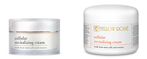 CELLULAR REVITALIZING CREAM with Fruit Stem Cells and Extracts  30ml, 50ml retail, 125ml, 250ml, 500ml jars  Anti-aging cellular longevity face cream with an incredible lightweight and silky-smooth feel. This unique cellular revitalizing formula utilises the latest advances on skin longevity and DNA cellular protection. Fights wrinkles and expression lines, enhances elasticity and offers a powerful moisturising and antioxidative fruit based cocktail to the skin to protect it from everyday environmental stress factors. Suitable for all skin types.   Contains Stem Cells of a rare Swiss Apple (Malus Domestica) for protection and activation of epidermal stem cells, a special red Grapevine extract rich in Resveratrol and its derivatives (activates Sirtuins ensuring DNA integrity protection and increased cell longevity) and a highly effective Plankton extract (cellular DNA protection). Contains also Hyaluronic acid of three different molecular weights