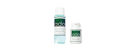 ADO natural herbal peeling  25 g jar (powder) en 125 ml bottle (lotion)  Powder and Lotion  Natural herbal peeling treatment that consists of a powder and and lotion (Citric acid). The powder contains dried pulverised fresh-water sponges (Spongila) and Laminaria. It is mixed with the lotion resulting in a viscous paste that performs exfoliation of the skin removing excess sebum and dead cells. Gradually the skin appears more smooth, clear and fresh. Only for professional use. The lotion contains Citric acid, Papaya extract, Stinging nettle extract, Aloe Vera gel and Allantoin.