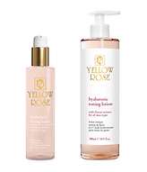 HYALURONIC TONING LOTION with Flower extracts  200ml retail, 500ml bottles  Toning, moisturising and soothing lotion for all skin types (Alcohol free). Leaves the skin fresh, soft and supple. Can be effectively combined with the other Yellow Rose Hyaluronic Face Care products.  Contains Hyaluronic acid (high and low molecular weight), Flower extracts (Japanese Cherry blossoms, Magnolia, French Roses, Indian Lotus) with soothing, moisturising and antioxidative properties, antioxidative Chinese White Tea extract, Niacinamide (Vitamin B3), Panthenol (pro-Vitamin B5)and Allantoin.