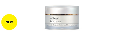 COLLAGEN   FACE CREAM  30ml, 50ml retail, 125ml, 250ml jars  Anti-wrinkle, moisturising and firming anti-ageing cream with natural fresh Collagen, Collagen fillers, Edelweiss stem cells and flower nectar. Moisturises effectively, fights wrinkles and expression lines, firms and tones the skin, redefining the facial contour. This exquisite rich and delicate formula is specially designed with a unique lightweight and soft texture, leaving the skin soft, calm and supple with a youthful brightness and luminosity. Suitable for all skin types. Dermatologically tested.  Contains natural soluble Collagen (marine) with 2 molecular weights for moisturisation, firmness and radiance, Collagen (marine) and Chondroitin fillers for immediate wrinkle plumping, firming and anti-wrinkle Edelweiss stem cells, antioxidant and moisturising flower Nectar, anti-wrinkle and firming Oligopeptides that stimulate the natural synthesis of Collagen and Elastin in fibroblasts ('Retinol-like effect')