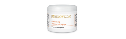 EXFOLIATING MASK WITH PAPAYA  25g, 150g jar, 700g bucket  Exfoliating peel-off face mask in powder form for all skin types.  Contains the natural exfoliating enzyme Papain, derived from the Papaya fruit extract. Deeply cleanses and purifies the skin, accelerates the elimination of dead cells, refines texture and gives a fresh and youthful look.