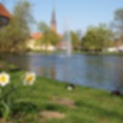 Schloss, Schlossteich in Winsen, eine Stadt nahe Hamburg, Urlaub für Radreisen